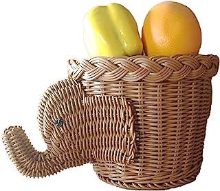 Yuehuam Rattan Storage Basket Woven Wicker Organizer Elephant Shaped Rattan Fruit Basket Desktop Organizer for Storing Fru...