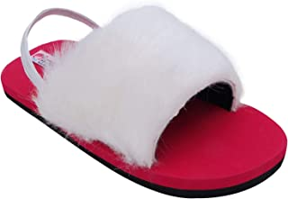 D'chica Red & White Winter Sliders for Girls