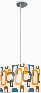Lite Source Inc Lite Source LS-1940 Boogaloo Pendant Lamp with Fabric Shade, Chrome