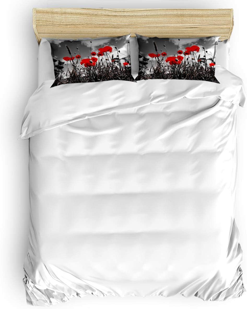 Duvet Cover [宅送] Set Printed 4 Pcs Twin 超歓迎された Size Bedding Duve Include