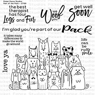Picket Fence - Part of The Pack - Clear Cling Dog Stamp and Sentiments Set ST100