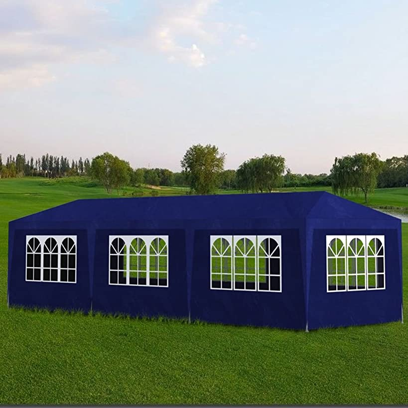 Tidyard Outdoor Party Tent with 8 Walls 10' x 30' Rust-Resistant Lightweight for Shows Weddings Parties Barbecues Blue