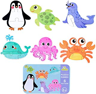 Ratus Wooden Puzzle 6Pcs Cartoon Animals, Dinosaurs, Wooden Puzzles for Cars, Rounded Edges to Protect Children with Iron Box Storage, Children's Thinking Skills Toys- Ocean Animal