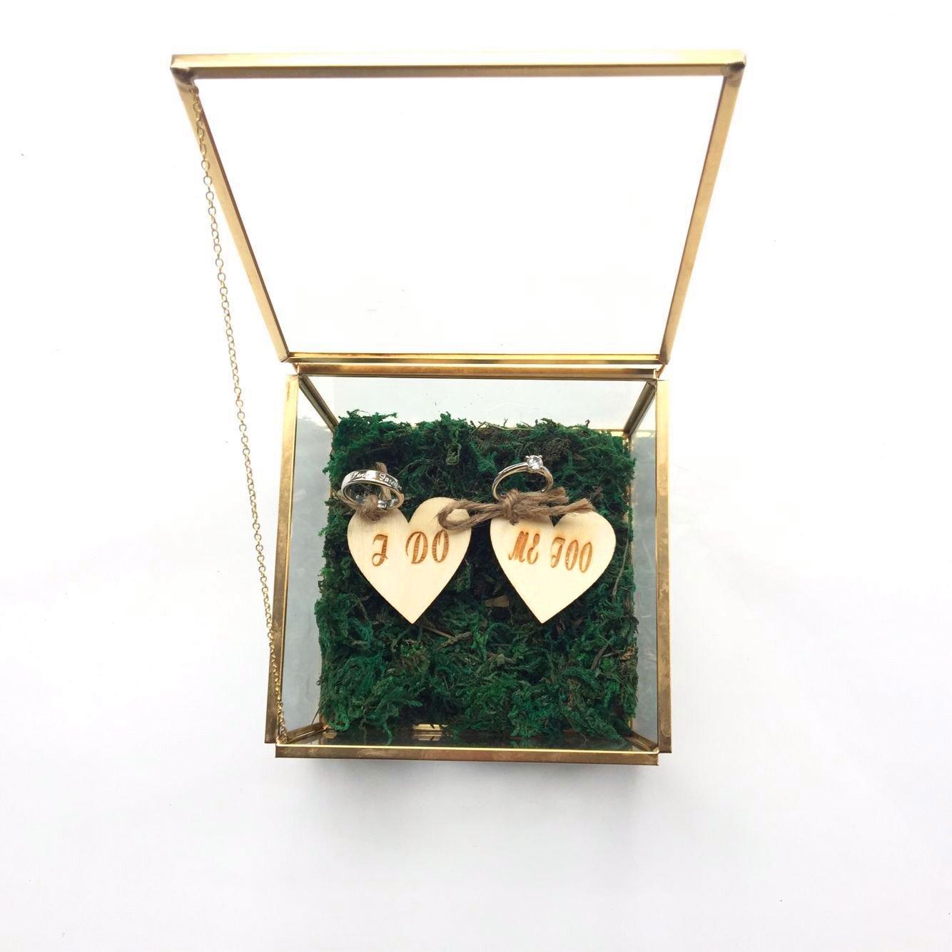 I Do Me Too - Caja de cristal rústica para anillos de boda, caja de anillos, anillo de cristal, soporte para anillos, caja para anillo de boda, caja para anillo de propuesta: