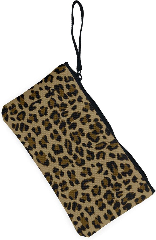 AORRUAM Brown leopard pattern Canvas Coin Purse,Canvas Zipper Pencil Cases,Canvas Change Purse Pouch Mini Wallet Coin Bag