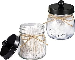 Mason Jar Bathroom Vanity Organizer - Farmhouse Decor Qtip Dispenser Holder Canister Glass - 8oz Mason Jars with Stainless Steel Lids for Q-tips,Cotton Swabs,Rounds,Bath Salts,Ball / Black,2-Pack