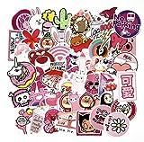 GSNY Dibujos Animados Rosa Lindo Equipaje Maleta Pegatinas Personalidad pequeño Cuaderno Fresco monopatín Guitarra Pegatinas Pegatinas Impermeables 50 Hojas