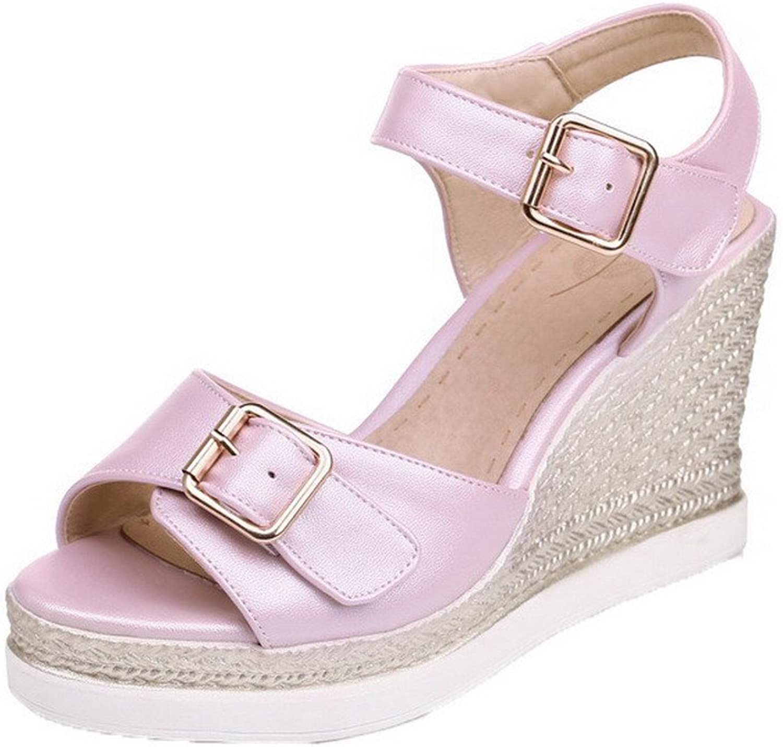 AmoonyFashion Women's Solid PU High-Heels Buckle Peep-Toe Sandals, BUTLT006239, Pink, 40