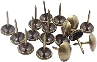 Weforu 125PCS Antique Upholstery Nails 11x17mm Upholstery Tacks Antique Brass Furniture Nails Pins Round Head Pins