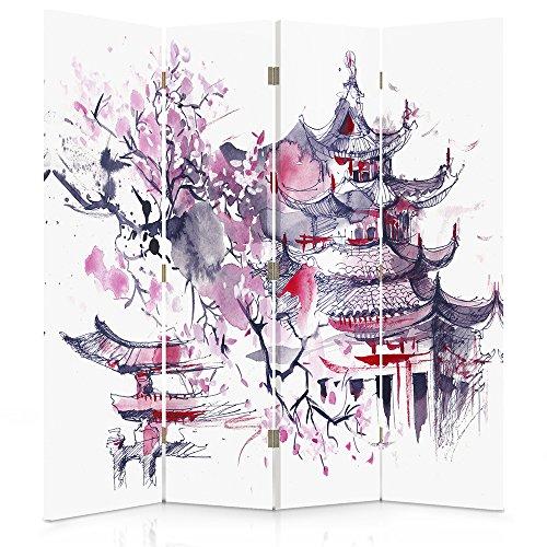 Feeby Frames. Raumteiler, Gedruckten auf Canvas, Leinwand Wandschirme, dekorative Trennwand, Paravent beidseitig, 4 teilig (145x180 cm), JAPANISCHER KIRSCHBAUM, ABSTRAKT, LILA