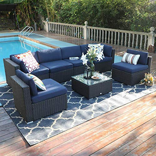 PHI VILLA Outdoor Patio Sectional Sofa Set, 7-Piece Patio Wicker Furniture Set with Coffee Table, Cushions and Covers (Navy Blue)