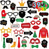 Joy Bang Ugly Sweater Party Supplies 39PCS Ugly Sweater Photo Props Ugly Sweater Party Decorations Tacky Christmas Party Photo Booth Props for Adults & Kids Xmas Photo Accessories