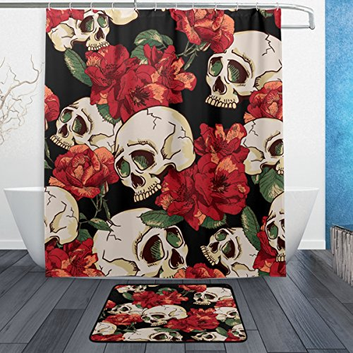 ALAZA Halloween Flower Sugar Skull Waterproof Polyester Fabric Shower Curtain 60 W x 72 H Inch with Hooks Doormat Bath Floor Mat 23.6 L x 15.7 W Inch Bathroom Home Decor Black Red