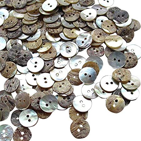 Fish Eye 2 Hole Shank buttons Copper Brown Shell Buttons 100 Mixed MOP Shell Abalone buttons Item 818 Smoky Black Gray