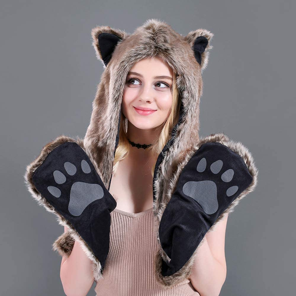 SINLOOG Beanie Hat Scarf Gloves 3PC Set Women Winter Snow Hoodie Mittens