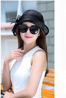 JDSXXZ Protección UV Sombrero para el Sol para Mujer Verano Hilados de cáñamo Flor Pluma Banquete Sombrero Elegante Sombrero para el Sol