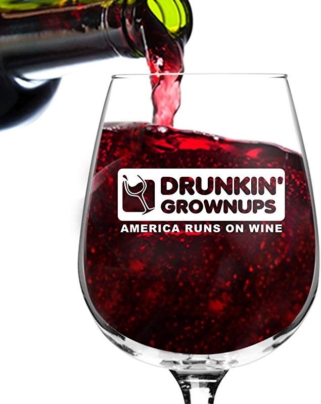 Drunkin Grownups Funny Wine Glass Gifts For Women Premium Birthday Gift For Her Mom Best Friend Unique Present Idea