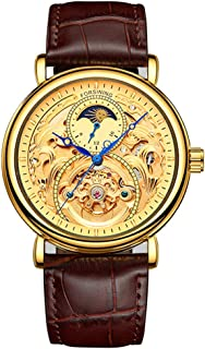 Automatic Watch for Men Tourbillon Skeleton Watch Moon Phase Waterproof Mechanical Gold Watch