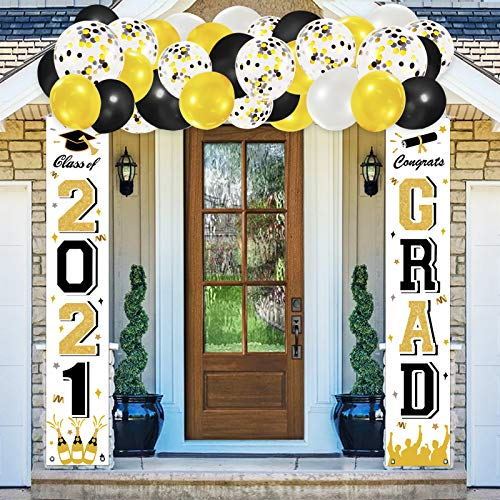 ORIENTAL CHERRY Graduation Party Supplies - 2021 Decorations Congrats Grad Banner Porch Sign Flags with Balloons & Class of 2021 - Indoor Outdoor-Black Gold White