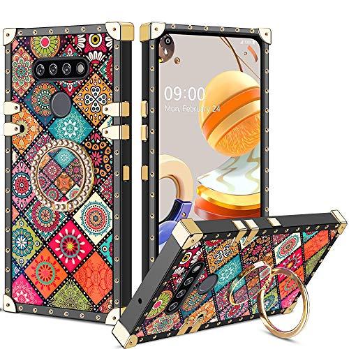Vunake LG K61 Hülle,Glitzer Hülle Cover & 360 Grad Ring Stand Handyhülle Schutzhülle Fingergriff Kompatibel mit Magnetische Autohalterung Stoßfest Tasche für LG K61