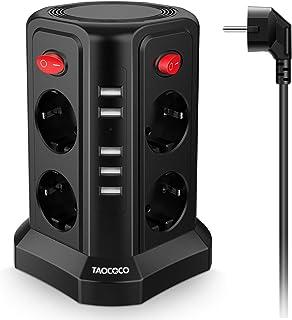 TAOCOCO Enchufe vertical con 8 enchufes y 5 enchufes USB, cable de extensión de 2 m, conexión múltiple, enchufe de segurid...