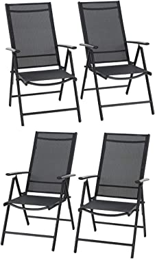 Sophia & William Patio Foldable Dining Chairs Set of 4, Outdoor Folding Sling Chairs 7 Levels Adjustable, High Back Portable Chairs for Porch, Poolside, Patio, Garden, Balcony, Backyard, Black