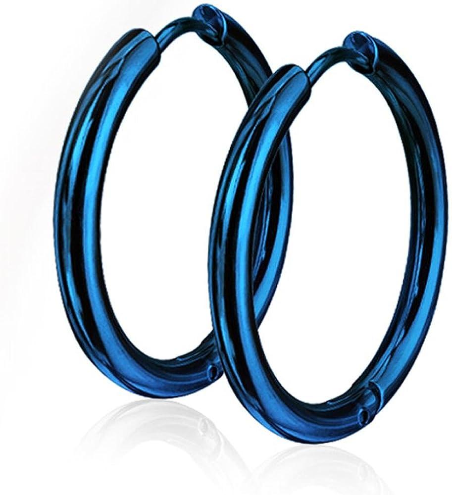 Pair of 10 or 12mm Surgical Steel Hinged Seamless Hoop Earrings