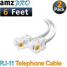 (2 Pack) 6 Feet White Telephone Cable Rj11 Male to Male 72 inch Phone Line Cord