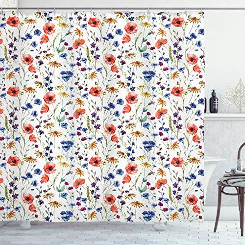 "Ambesonne Flower Shower Curtain, Wildflowers Poppy Chamomile Cornflowers Daisies Countryside Illustration, Cloth Fabric Bathroom Decor Set with Hooks, 70"" Long, Orange Blue"