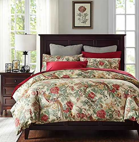 Chinoiserie Chic Peacock Floral Duvet Cover Paradise Garden Botanical Bird and Tree Branches Vintage Stylized Long Staple Cotton Bedding Set (Queen, Autumn Red)