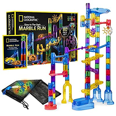 NATIONAL GEOGRAPHIC Glowing Marble Run – 80 Piece Construction Set with 15 Glow in the Dark Glass Marbles, Mesh Storage Bag and Marble Pouch, Great Creative STEM Toy for Girls and Boys