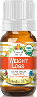 Essential Oil for Weight Loss (USDA Organic - 100% Pure) Unique Blend of Essential Oils Recomended by Aromatherapists for Aromatherapy - 10ml