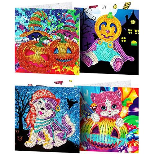 TIREOW_Halloween TIREOW 4pcs DIY Weihnachtskarte Weihnachtsmann Elch Schneemann Kürbis Katze Hund Diamant Malerei Grußkarte für Kind Junge Mäd (C)