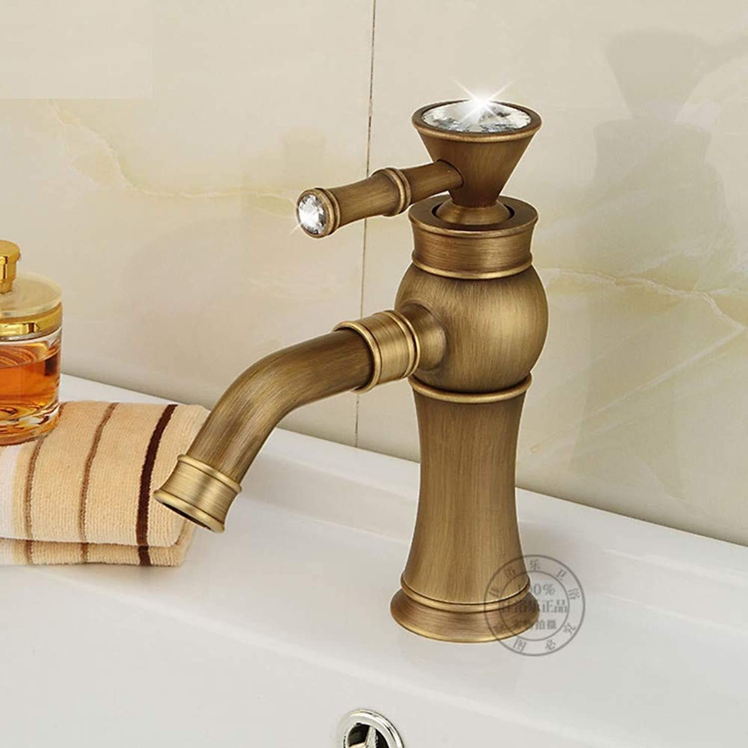 Sink Mixer Tap Bath Taps ?Copper Hot and Cold Water Crystal Handle Faucet Heightened Single Hole Above Counter Basin Faucet