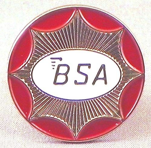 Badge à épingle en métal émaillé BSA - Cercle de moto (Argent) (24 mm)