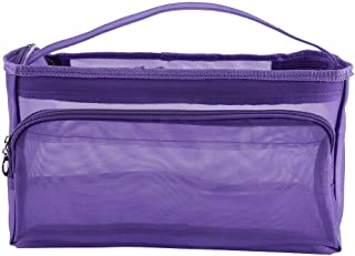Fdit Knitting Bag Yarn Storage/Portable Tote Crochet 3 Holes Storage Bags to Protect Yarn Prevent Tangling(Purple)
