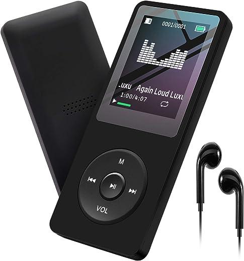 MP3 Player 32GB with Speaker FM Radio Earphone Portable HiFi Lossless Sound MP3 Mini Music Player Voice Recorder E-Book HD Screen 1.8 inch Black...