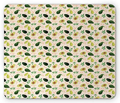 Avocado-Mauspad, Konzept von schäbigen ganzen Früchten und Scheiben mit Blumen und Blättern, rechteckiges rutschfestes Gummi-Mauspad, Standardgröße, Champagner und mehrfarbig