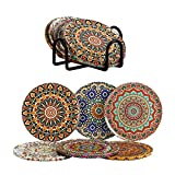 Metal Drink Coasters Set of 6 with Metal Holder, Decorative Coasters for Drinks with Cork Base, Great Gift for Birthday, Housewarming, Room Decor, (Autum)