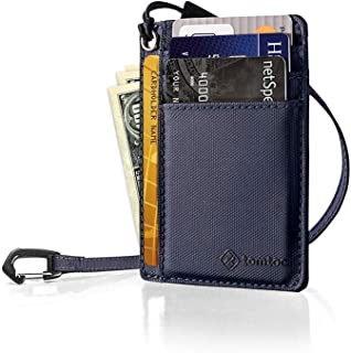 tomtoc Slim Front Pocket Wallet with Chain Minimalist Leather Credit Card Holder Organizer with Strap for Men Women, Dark Blue
