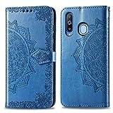 Bear Village Hülle für Galaxy A8S, PU Lederhülle Handyhülle für Samsung Galaxy A8S, Brieftasche Kratzfestes Magnet Handytasche mit Kartenfach, Blau