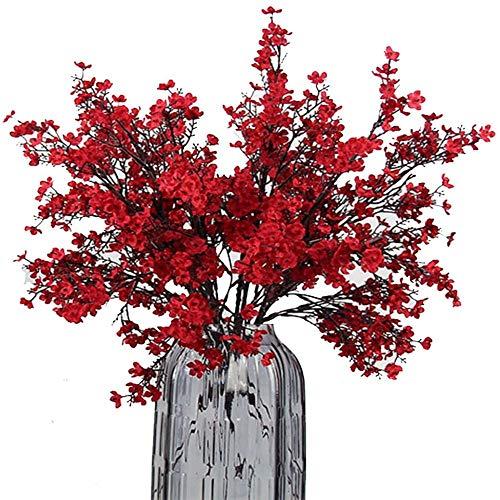 yueyue947 / Tela de Aliento de bebé Flores Artificiales de Tela 6 Bundle Plantas de Seda Falsas Europeas Decoración Decoración del Banquete de Boda Real Touch DIY Home Garden Red-6pcs