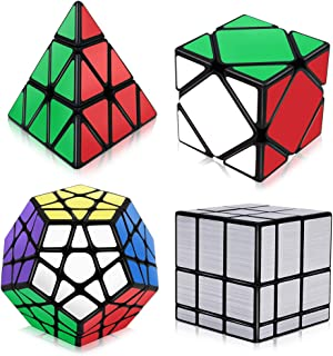 Tresbro Speed Cube Set, Pyramid Mirror Skew Megaminx Cube Collection, Toy Puzzles for Kids and Adults Set of 4