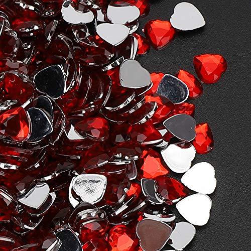Okuyonic Diamante acrílico 1000PCs Forma de corazón Aspecto único Tarjeta de Diamantes de imitación con Espalda Plana Decoración para Manualidades Día de San Valentín(Red)