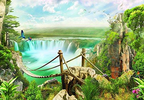 Forwall vliesfotobehang fotobehang behang wandschilderij vlies | touwbrug over de waterval | fotobehang Mural 10515_VE-AW | Landschap Wilde Natuur Waterval touwbrug Natuur VEXXXXL (416cm. x 290cm.) groen, blauw, bruin.