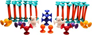 Fat Brain Toys Squigz Toobz Set - 36 Piece Suction Toy Building Set, BPA Free Silicone