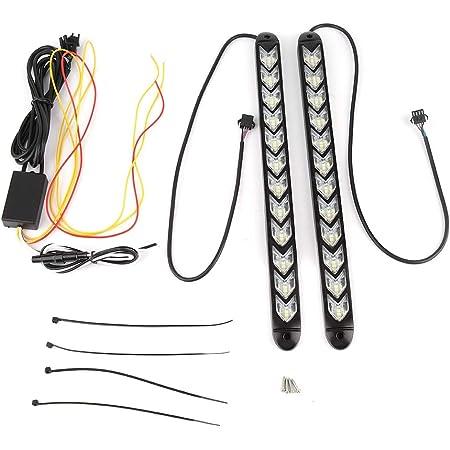 Turn Signal Lights Arrow LED DRL Strip Switchback 2pcs Flexible LED Lights Waterproof Car Flashing Arrow DRL White Amber Strip Light Headlight(12W(12LEDs))