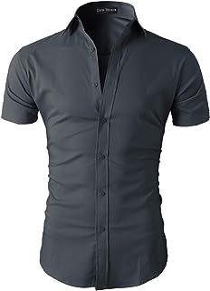 Lyon Becker Mens Short Sleeve Shirts Casual Formal Slim Fit Shirt Top S M L XL PS05