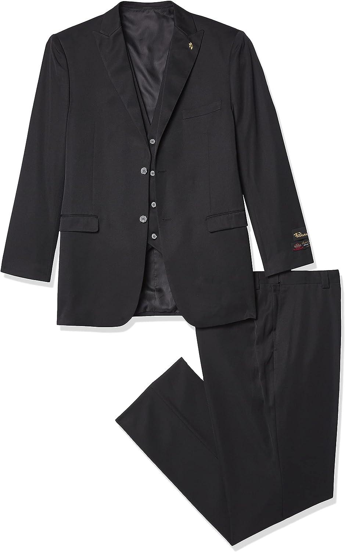 Falcone 3 Pc. Solid Classic Fit Men's Suit, Black, Lng48