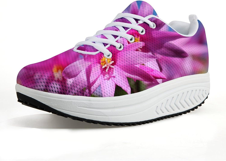 NAYINLAN Women Walking Wedge Flower Print shoes Breathable Lightweight Sneakers